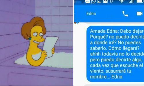 """Este fanático de Los Simpson le envió sus mensajes de amor a """"Edna"""" ¡Mira la conversación completa!"""