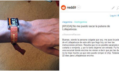 ¡Se puso la pulsera del Lollapalooza 3 semanas antes y ahora pide ayuda porque no se la puede sacar!