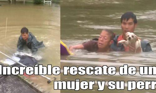 Este video de un hombre salvando a una mujer y a su perro en una inundación se ha vuelto viral